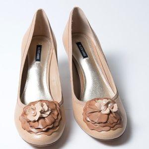 Alex Marie Tan Heels Leather Flower Pearls 8